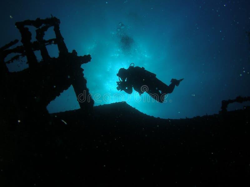 Plongeur de silhouette photo libre de droits