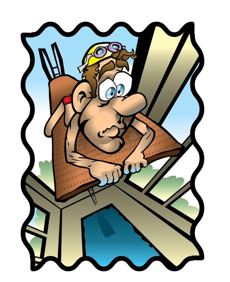 plongeur effrayé illustration de vecteur