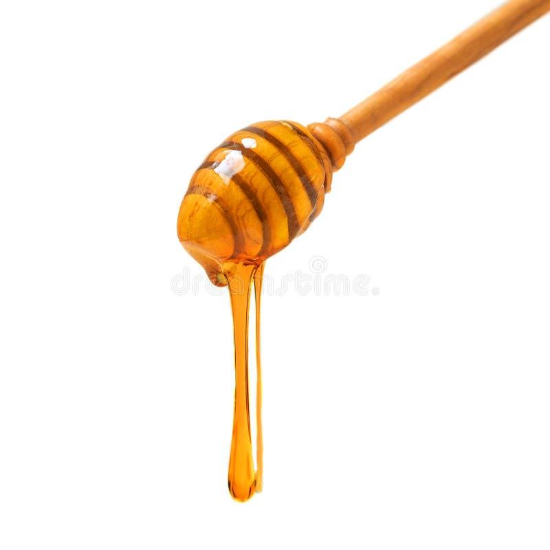 Plongeur en bois avec le versement de miel et le pot en verre d'isolement sur le fond blanc Produits organiques d'abeille photo libre de droits