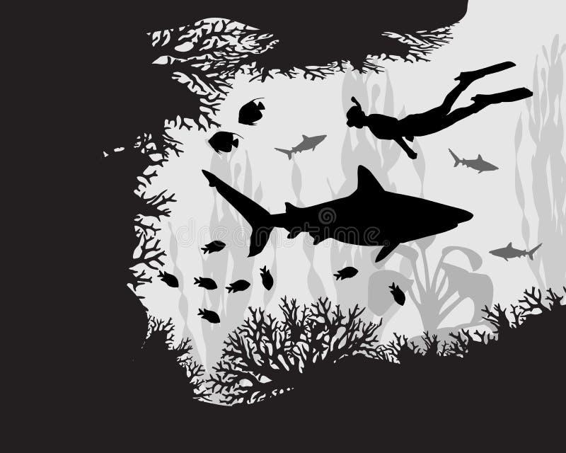 Plongeur en récif coralien illustration de vecteur