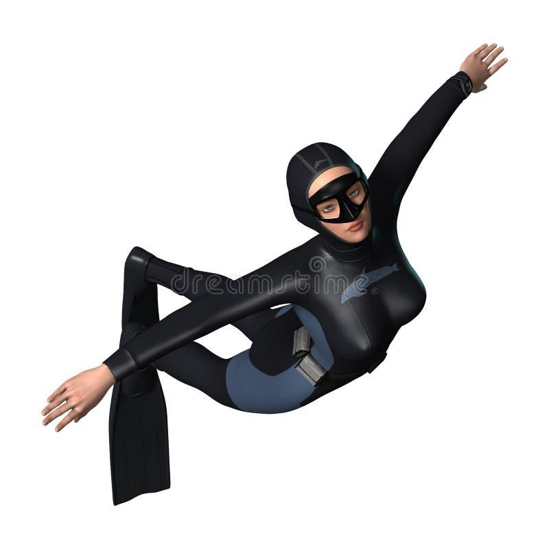 Plongeur féminin images libres de droits
