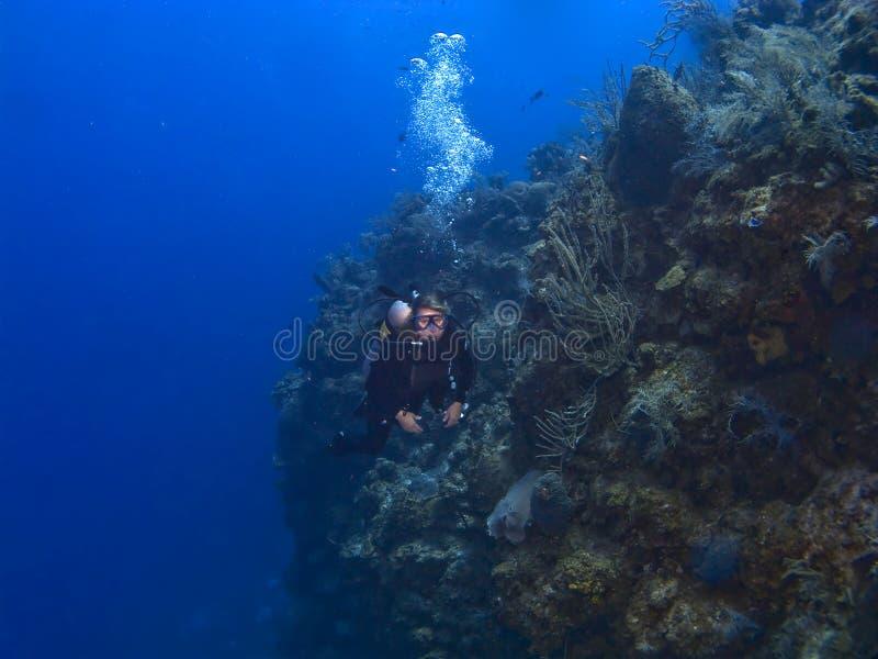 Plongeur féminin outre du mur dans le caïman Brac photos stock