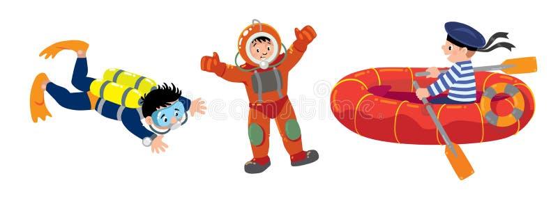 Plongeur, marin dans le bateau et plongeur autonome illustration stock