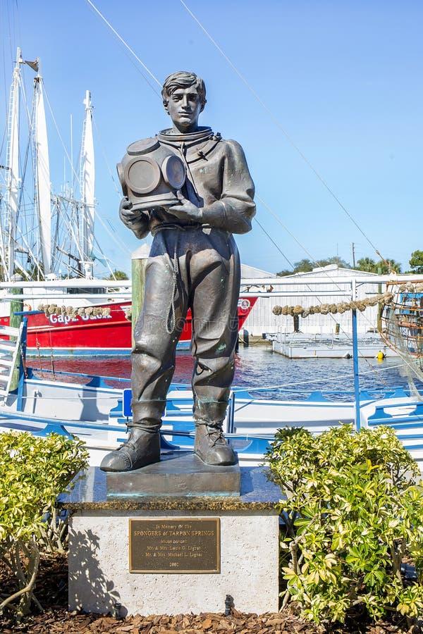 Plongeur Memorial Statue d'éponge photographie stock libre de droits