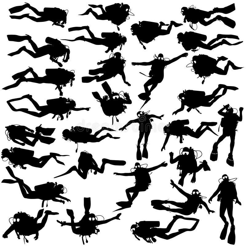 Plongeurs autonomes noirs réglés de silhouette Illustration de vecteur illustration de vecteur