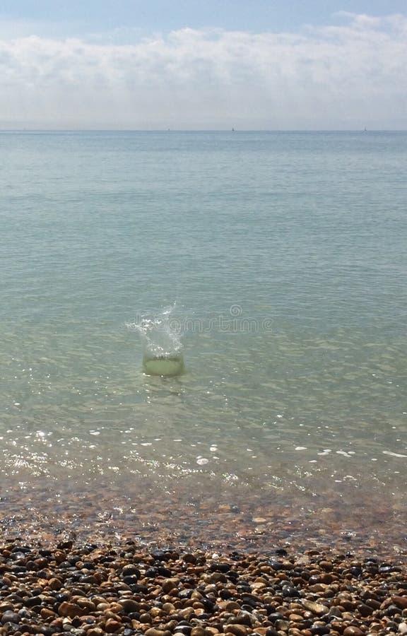 Plons in de oceaan stock foto