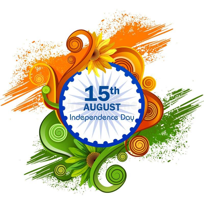 Plons van Indische Vlag op Gelukkige Onafhankelijkheidsdag van de achtergrond van India stock illustratie