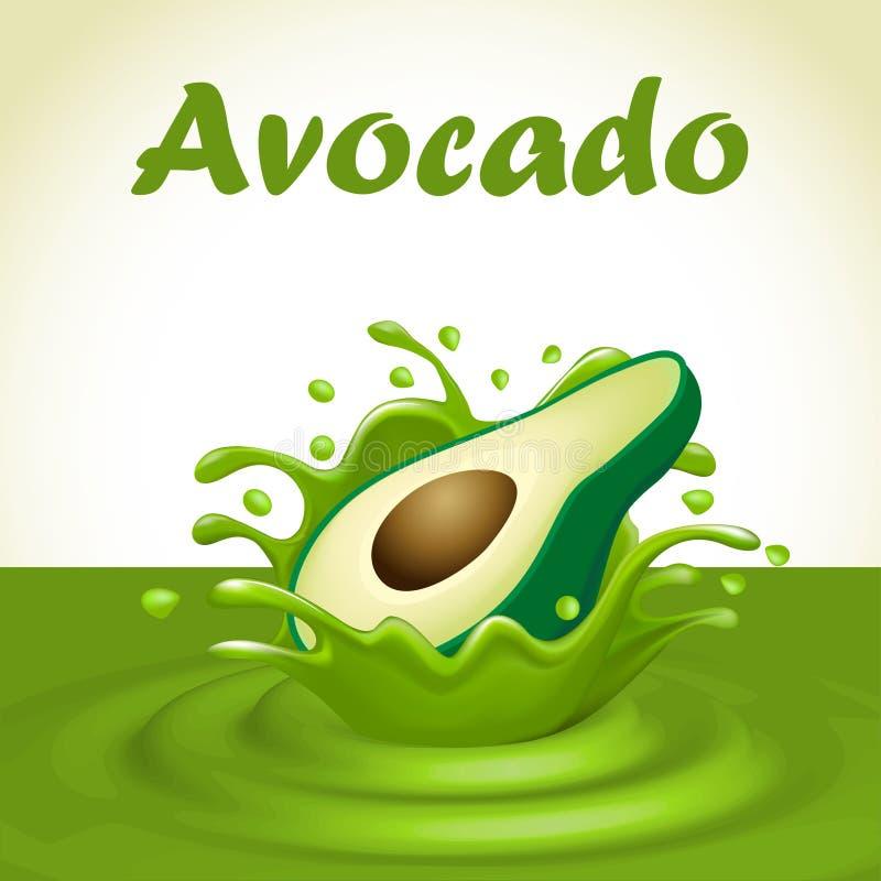 Plons van sap van een dalende avocado stock illustratie