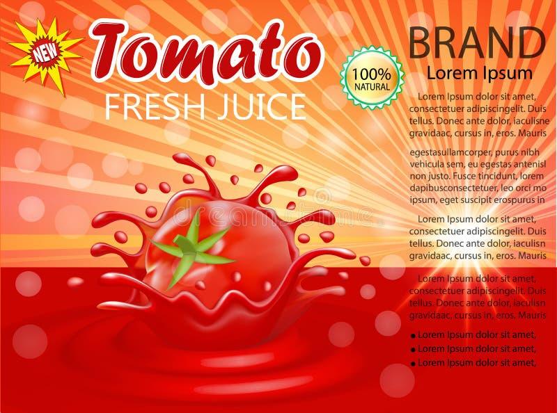 plons van sap van een tomatengroente royalty-vrije illustratie