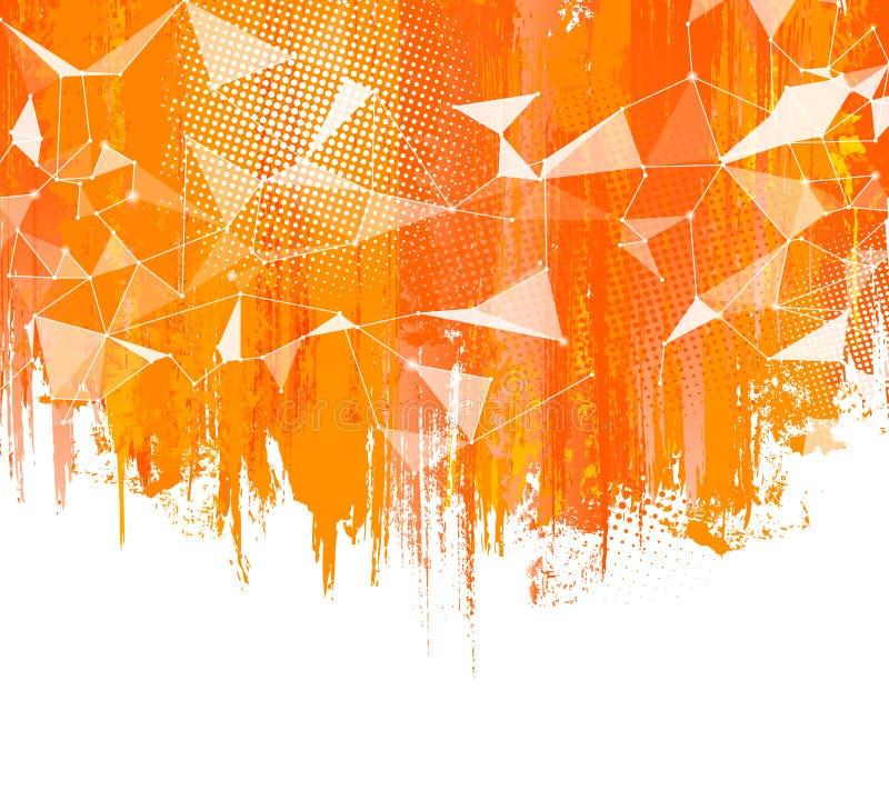 Plonsen Oranje Achtergrond De creatieve samenvatting met kleurrijke halftone plons, doted elementen en driehoekig ontwerp vector illustratie