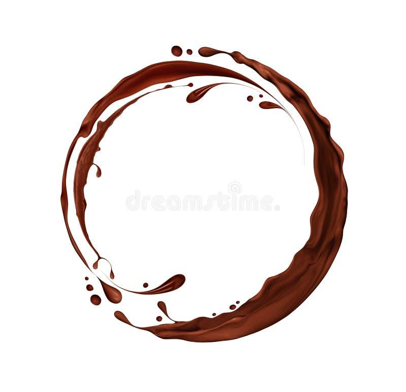 Plonsen van chocolade in een cirkeldiemotie, op wit worden geïsoleerd royalty-vrije illustratie