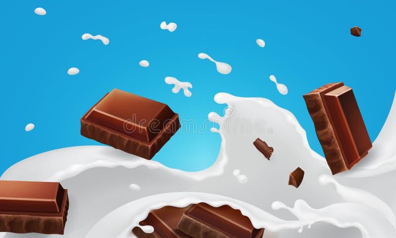 Plonsen van melk en dalende stukken chocoladerepen verpakkende ontwerp Vector 3D realistische illustratie, vector illustratie