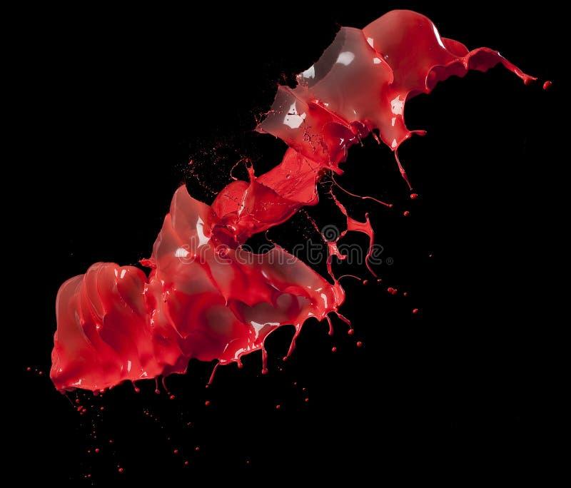Plonsen van rode verf royalty-vrije stock afbeelding