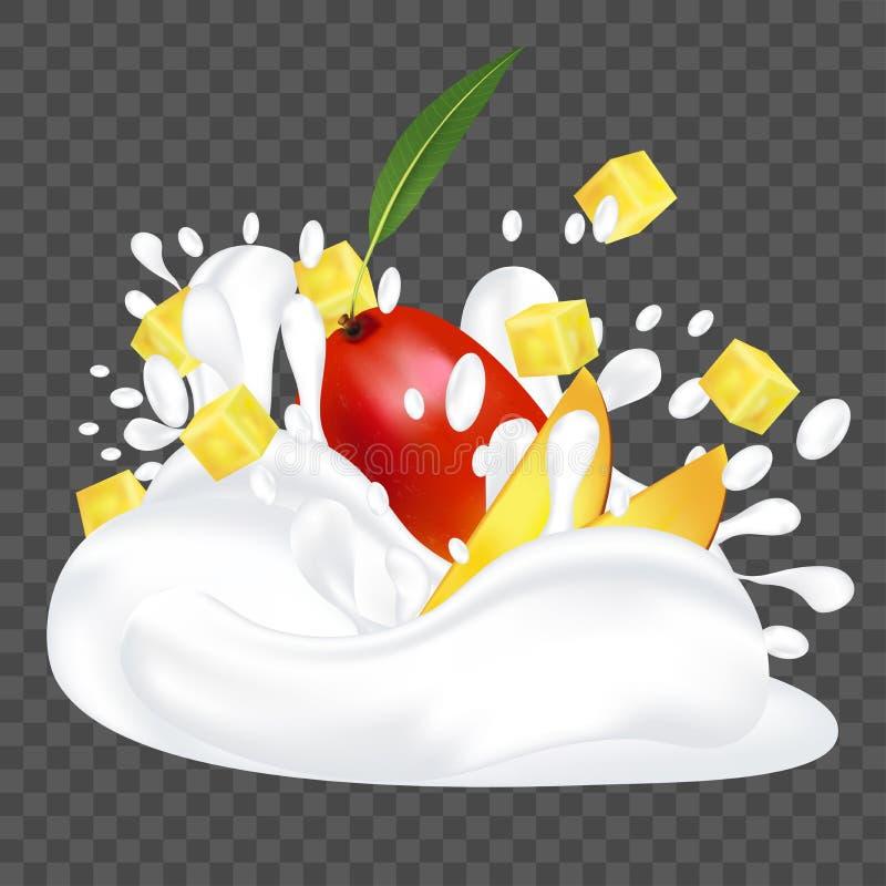 Plonsmelk of yoghurt en verse mango Fruit 3d realistische vectorillustratie stock illustratie