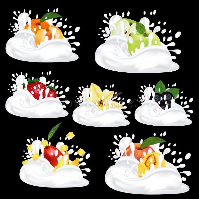 Plonsmelk of yoghurt Reeks met vers fruit, bessen en vanille 3d realistische vector op zwarte achtergrond royalty-vrije illustratie