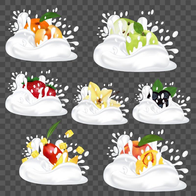 Plonsmelk of yoghurt Reeks met vers fruit, bessen en vanille 3D Realistische Vectorillustratie stock illustratie