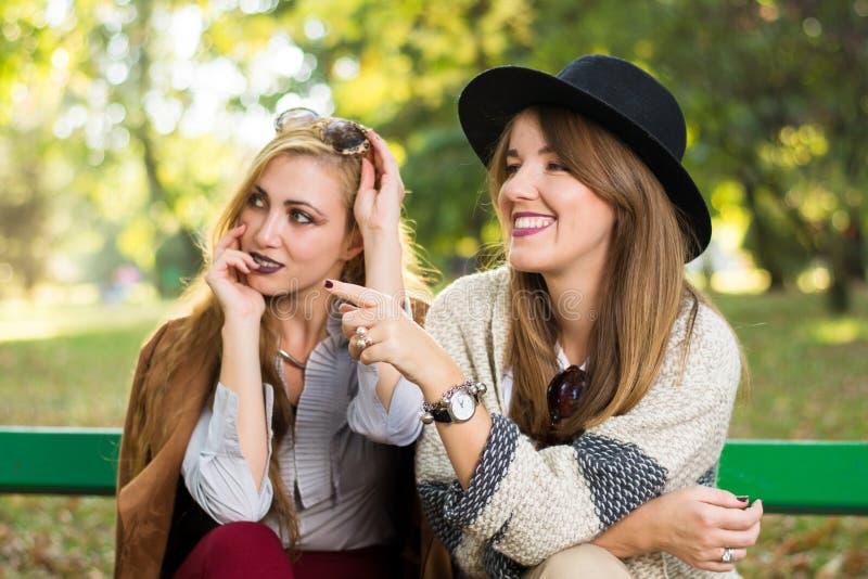 Plotka żeńscy przyjaciele w parku zdjęcie royalty free