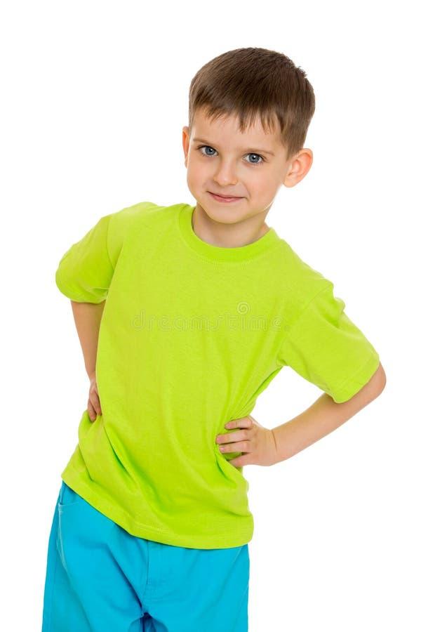 Plotseling glimlachend weinig jongen met royalty-vrije stock foto