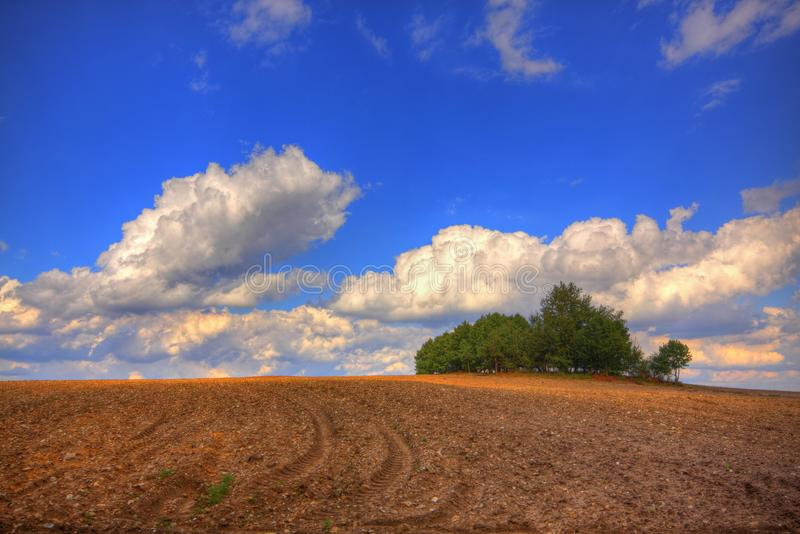 Ploughed field at late summer stock photos