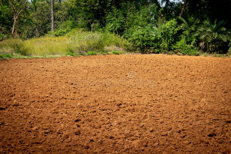 Ploughed land ready for cultivation, Koar, Karnataka, India. Agricultural field ready for sowing.  stock images