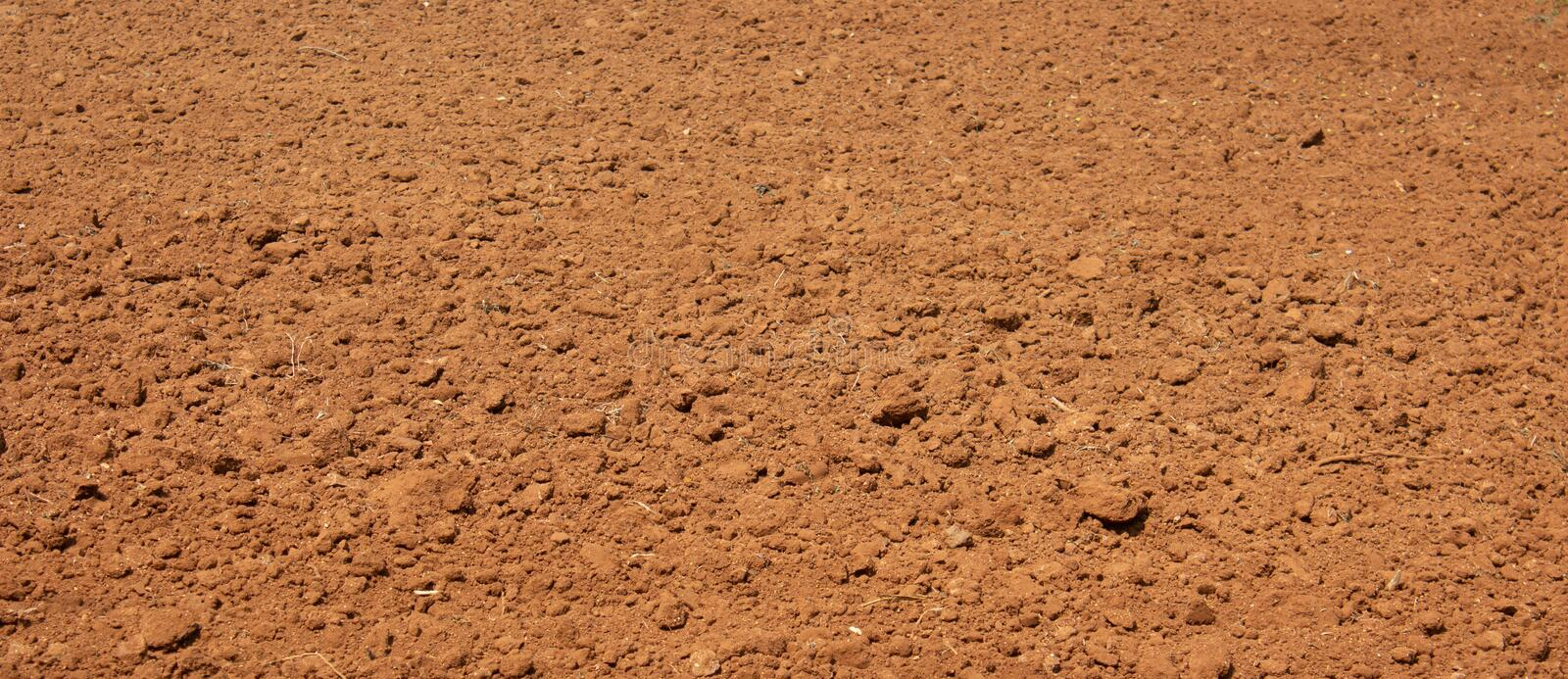 Ploughed land ready for cultivation, Kolar, Karnataka, India. Agricultural field ready for sowing.  stock images
