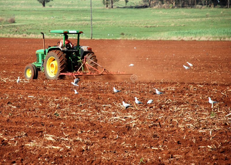 Ploughing the field. Image of farm workers ploughing and preparing a field for planting royalty free stock photos