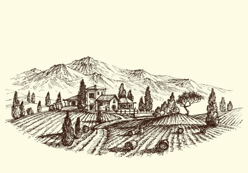 Ploughing o campo ilustração royalty free