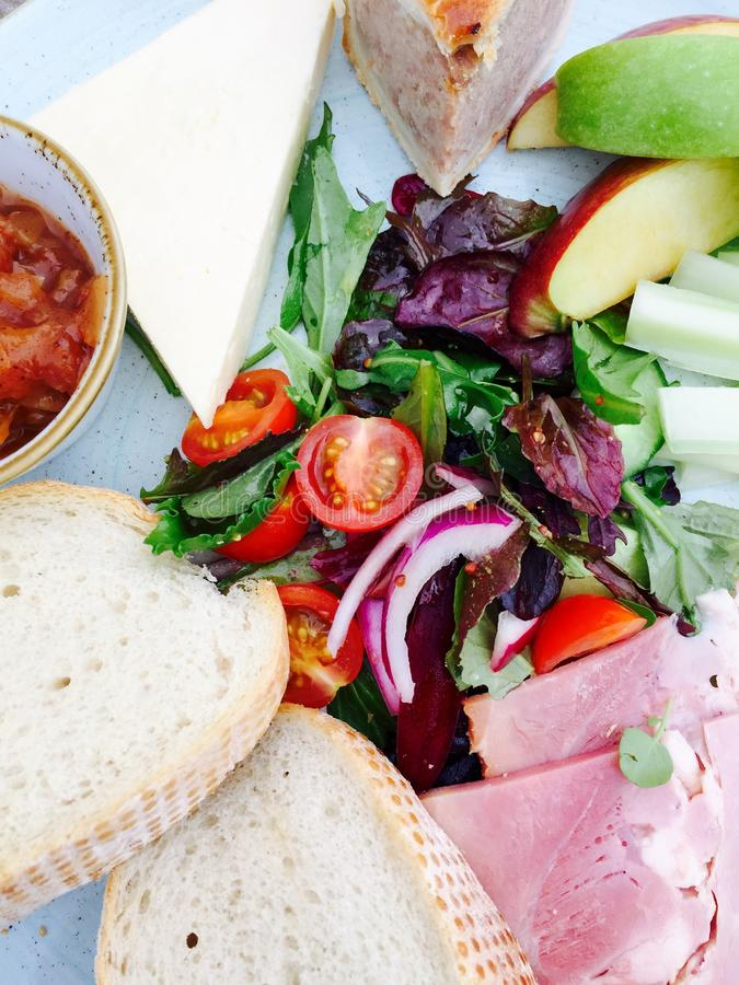 Ploughman's lunch. A mixed platter ploughman's lunch royalty free stock images