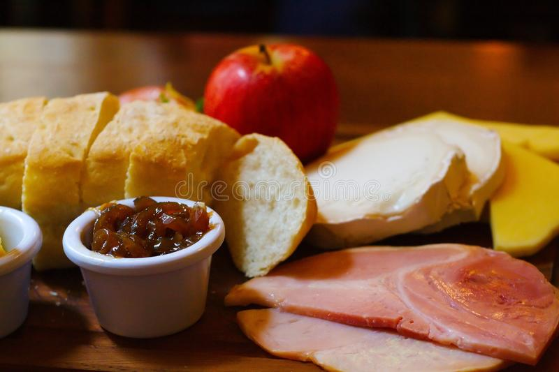 Ploughman`s lunch in a pub. Ploughman`s lunch served in a pub royalty free stock photography