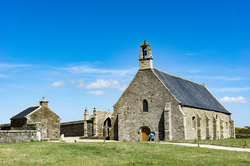 View of the chapel near the abbey and lighthouse of Pointe Saint Mathieu in Brittany royalty free stock photography