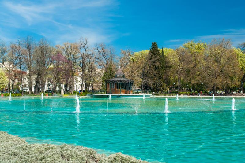 PLOVDIV, BULGARIA - April 8, 2018: Panoramic view of Singing Fountains in City of Plovdiv, Bulgaria stock images