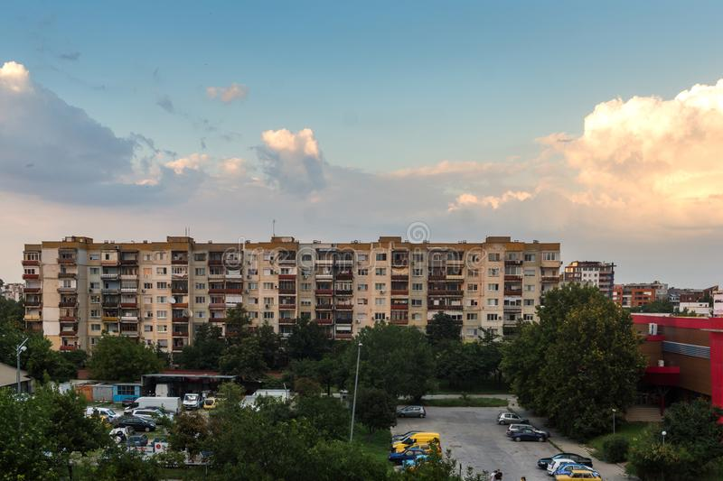 Sunset view of Typical residential building from the communist period in city of Plovdiv, Bulg stock photography