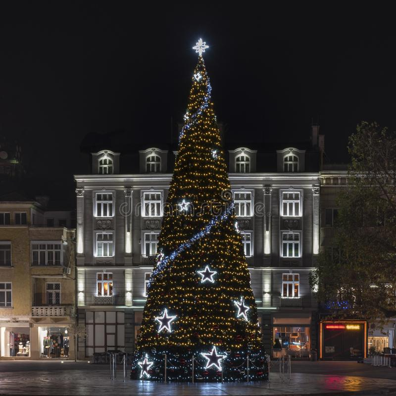 Plovdiv, Bulgaria. Christmas tree on the central square of a European city, decorated for the New Year. Night view stock photography