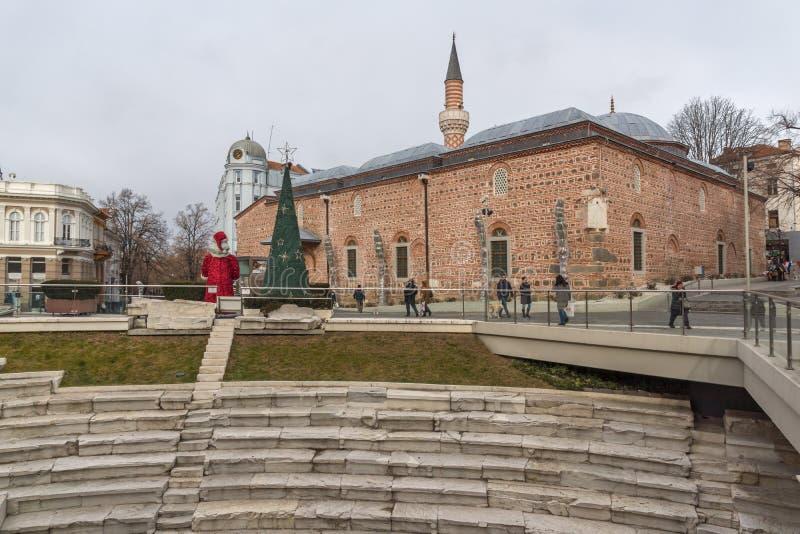 Dzhumaya Mosque and Roman stadium in city of Plovdiv, Bulgaria. PLOVDIV, BULGARIA - DECEMBER 30, 2016: Dzhumaya Mosque and Roman stadium in city of Plovdiv stock images