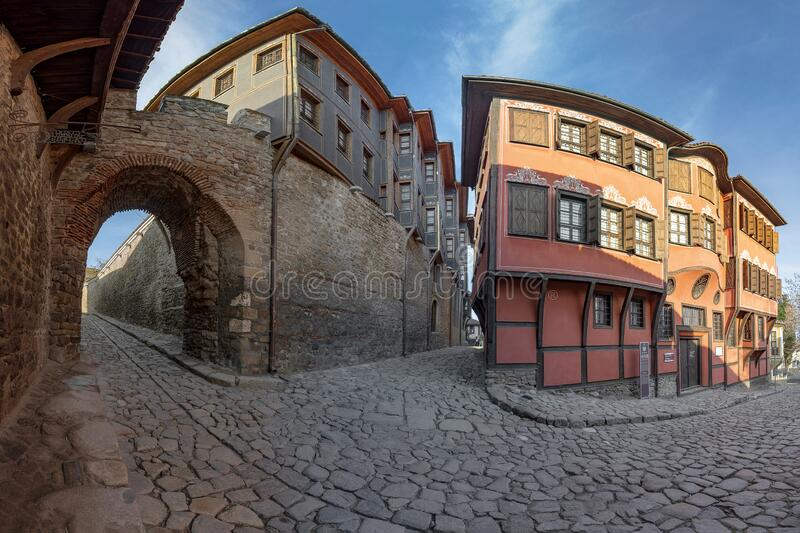 PLOVDIV, BULGARIA - Hisar Kapia - Ancient Gate in Plovdiv old town, Buildings of historical and ethnographic museums. Bulgaria. Europe stock images