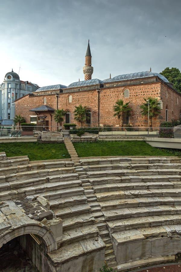 Amazing sunset view of Dzhumaya Mosque and Roman stadium in city of Plovdiv, Bulgaria stock photos