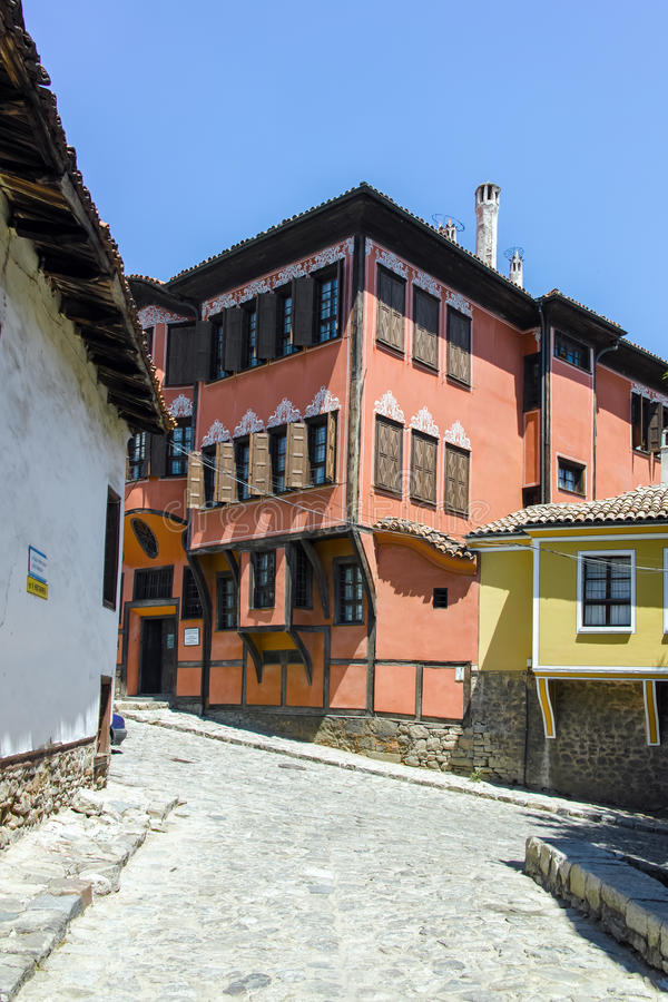 PLOVDIV, BULGARIA - JUNE 10, 2017: Building of History Museum in old town of Plovdiv royalty free stock image
