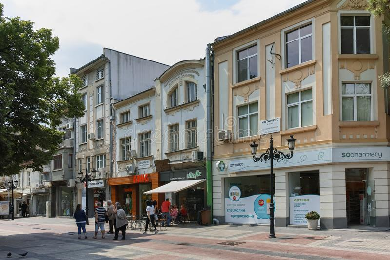 PLOVDIV, BULGARIA - MAY 7, 2018: Walking people at central street in city of Plovdiv royalty free stock photography