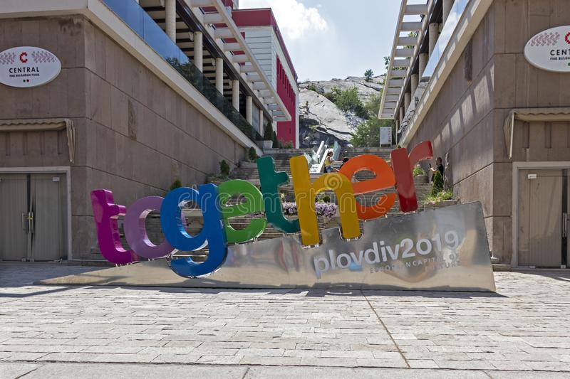 Walking people at Pedestrian streets at the center of city of Plovdiv, Bulgaria royalty free stock photo