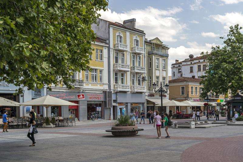 Walking people at Pedestrian streets at the center of city of Plovdiv, Bulgaria stock photography