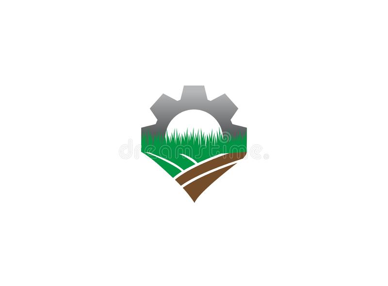 Plow the ground gear farming plants for logo illustration design royalty free illustration