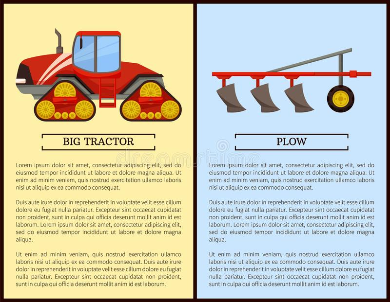 Plow Plowing Machine and Dodge Vector Illustration royalty free illustration