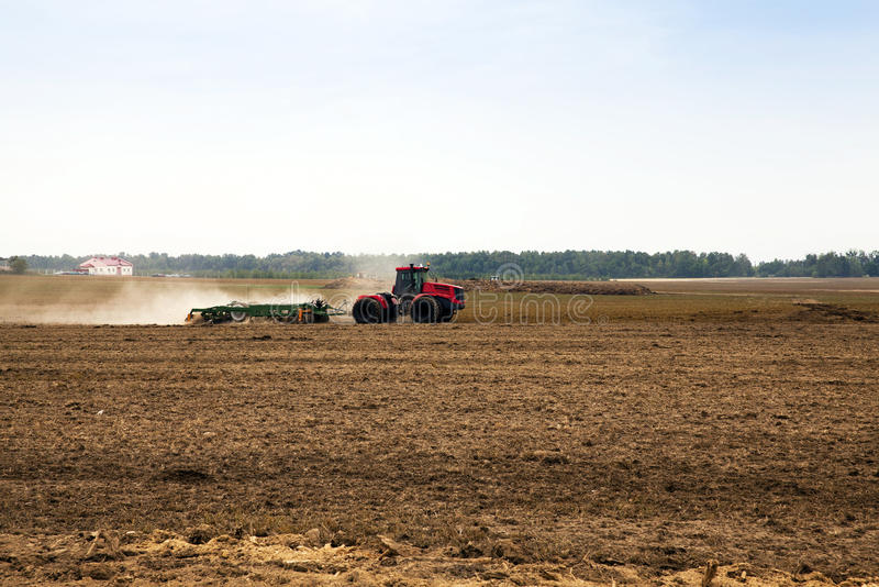 Plowed for crop land. Plowed land, to grow and produce a new crop stock photo