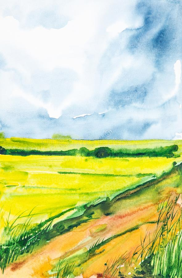 Plowed Russian field with forest in the background and grass in the foreground. Watercolor illustration of a rural location.  stock illustration