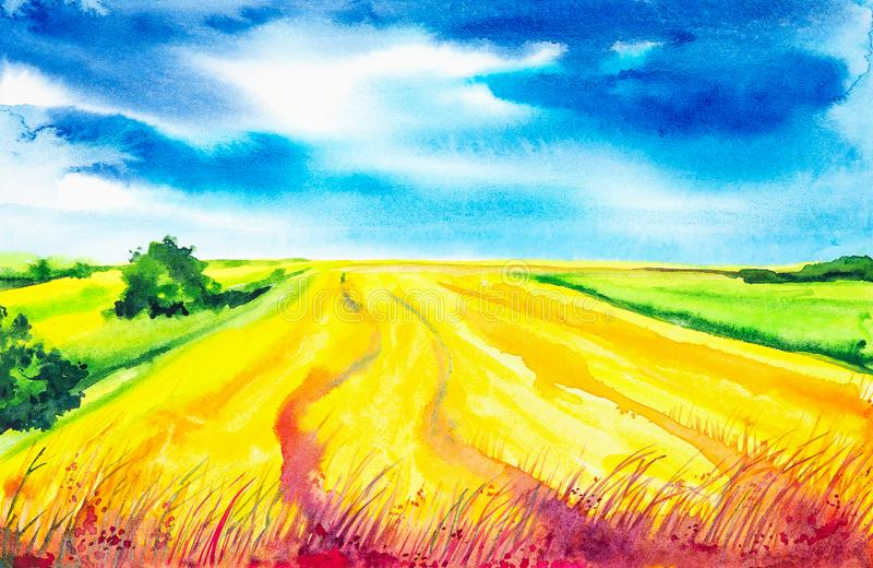 Plowed Russian field with forest in the background and grass in the foreground. Watercolor illustration of a rural location.  royalty free illustration