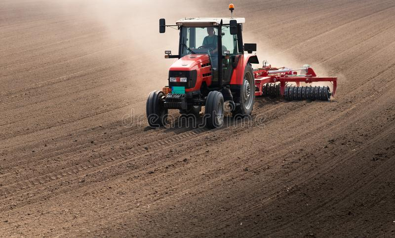 Plowing of stubble field royalty free stock photos