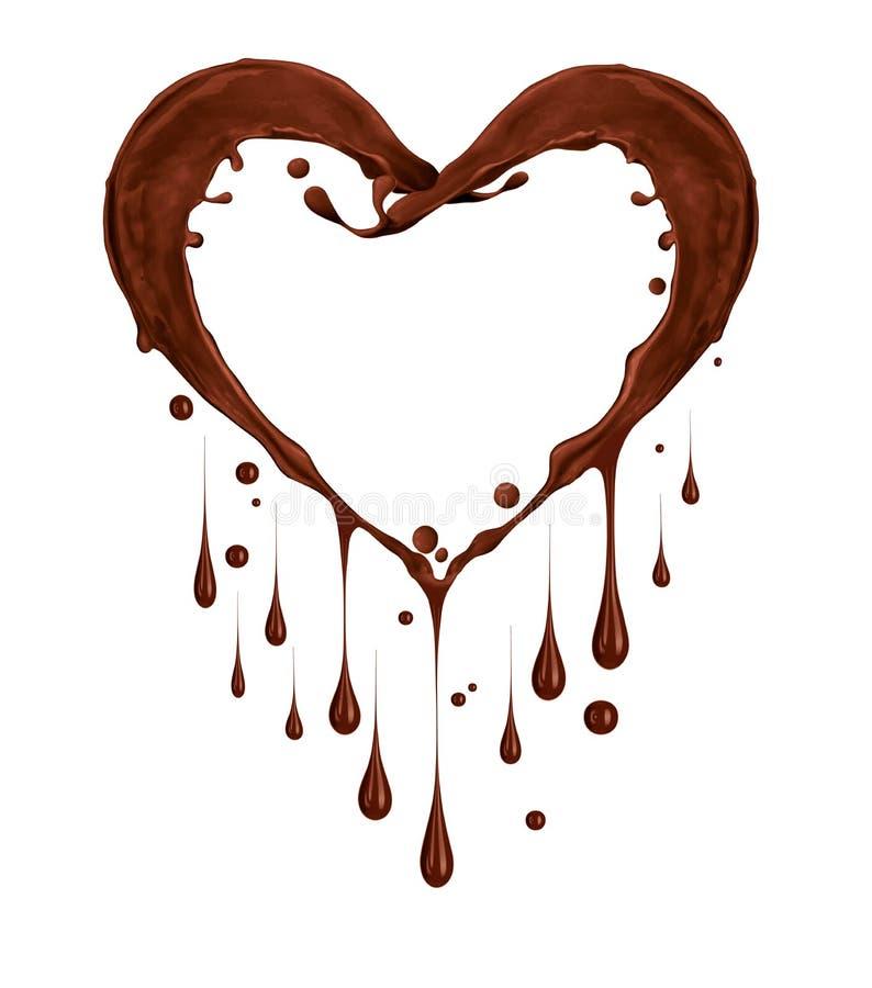 Pluśnięcia czekolada w formie serca z kroplami na bielu royalty ilustracja