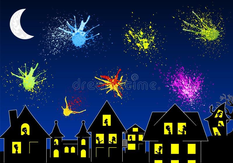 Pluśnięcia kolorów fajerwerki przy nocą nad miasto sylwetką ilustracji