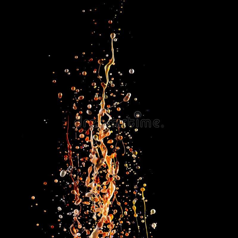 Pluśnięcie akrylowa farba, stubarwny farba wybuch, abstrakcjonistyczny tło na czerni obraz stock
