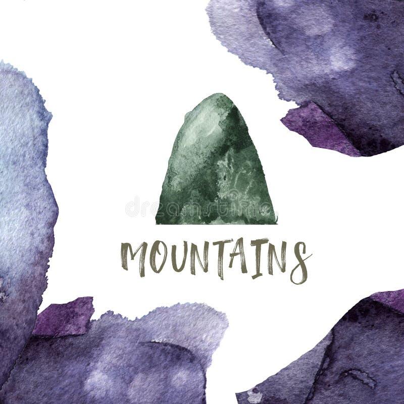 Pluśnięcie akwareli plam pluśnięć tekstury purpurowej zieleni klamerki rysunkowa ilustracyjna geometryczna sztuka dla przyjęcie u royalty ilustracja